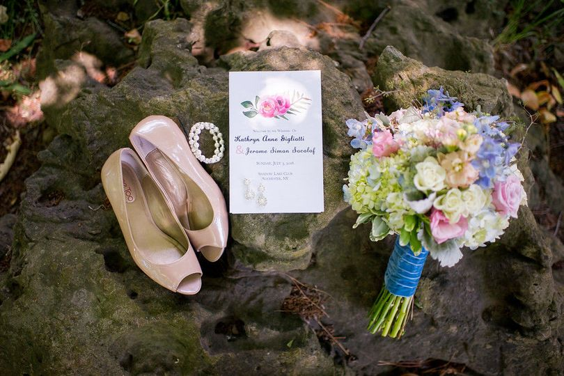 Bridal shoes and bouquet with the wedding card