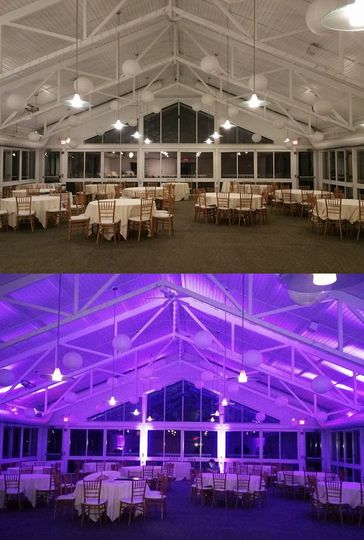 Uplighting before and after photo at the Atrium at The Essex Resort and Spa.