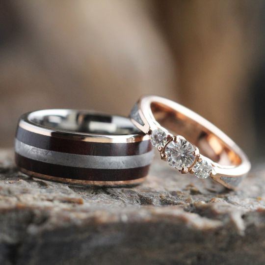 Meteorite and Petrified Wood Wedding Band in Rose Gold (SKU 3551) and Three Stone Rose Gold...