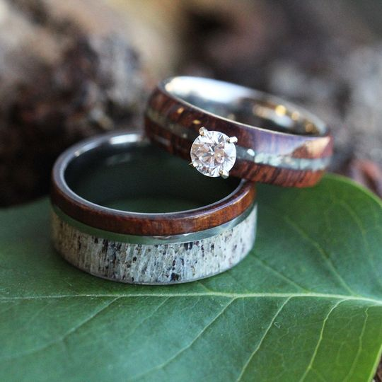 Ironwood and Deer Antler Wedding Band (SKU 1493) shown with a Wood and Mother of Pearl Engagement...