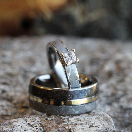 Princess Cut Engagement Ring in Meteorite (SKU 2146) shown with Meteorite, Dinosaur Bone and Yellow...