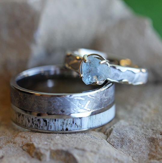Rough Aquamarine Engagement Ring with Wavy Meteorite Inlay (SKU 3251) shown with Meteorite and...