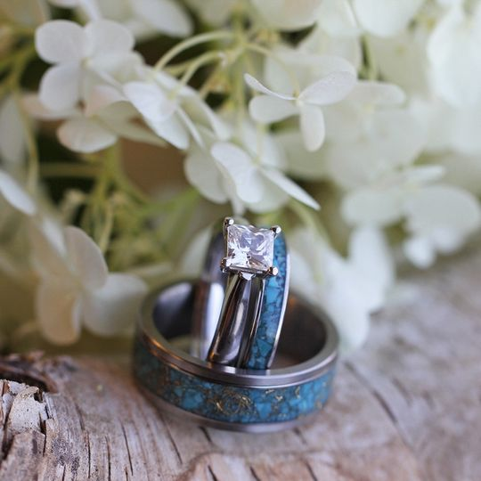Princess Cut Moissanite Engagement Ring with Matching Turquoise Wedding Bands (SKU 3323). Purchase...