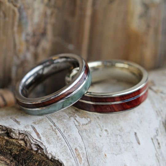 Jade and wood wedding ring set