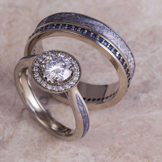 Meteorite & White Gold