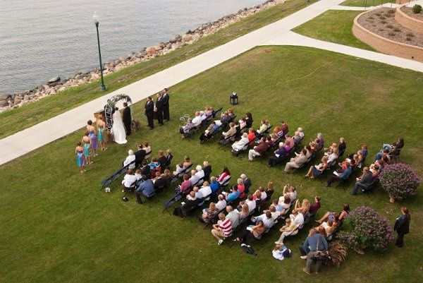 Areal shot of wedding ceremony