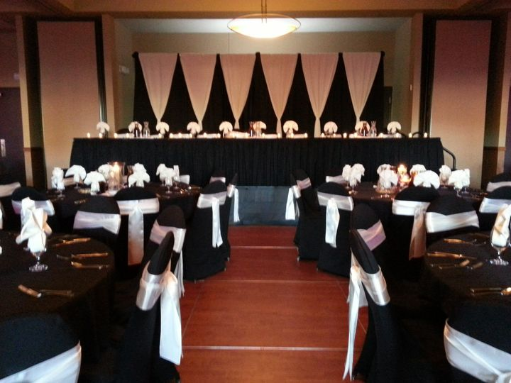 Black and white color scheme for reception