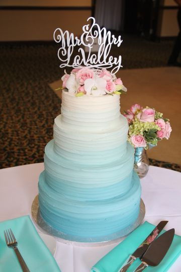 Ombre Buttercream Wedding Cake, Fresh Flowers, And Topper.
