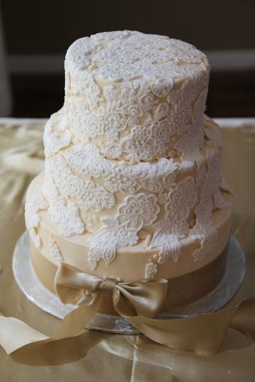 Hand Pressed Fondant Lace To Match Wedding Dress, Laid On Ivory Buttercream, And Accented With A...