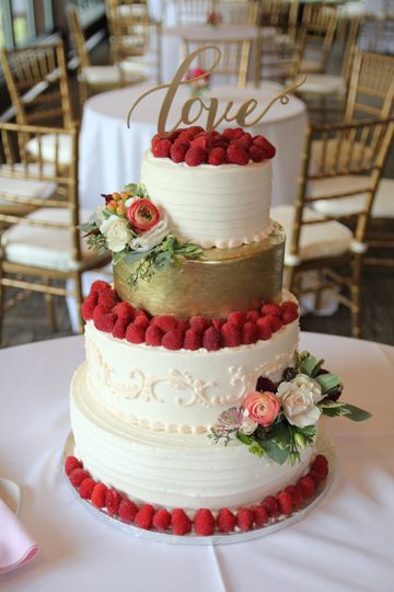 Rustic Chic Wedding Cake, Gold Painted Fondant Layer, Topped With Fresh Raspberries, And Fresh...