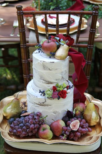 Naked Cake, Small Amount Of Buttercream, Decorated With Handmade Sugar Flowers, And Fresh Fruit.