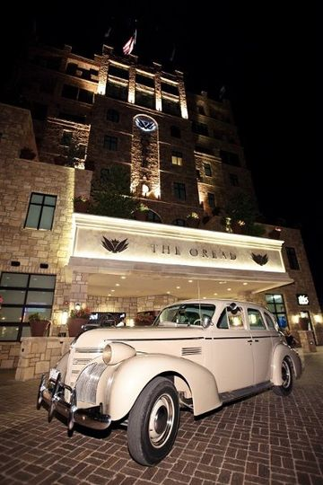 Wedding car and hotel exterior