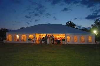 View of the tent at night.  Photo by John Zito.