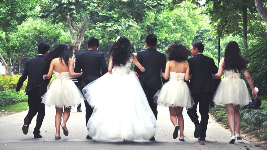 wedding party running