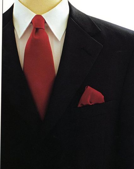 A red tie and pocket square look great on groomsmen and dads!