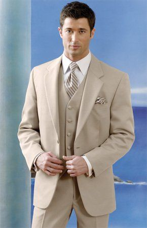 King Tux Rentals rents beach wedding tuxes, too. The Alfresco tan linen-look outfit is perfect for...