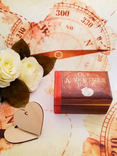 "Double Wedding Ring Box / Disney's Pixar UP inspired ""Our Adventure Book"" / Engagement Ring Box"