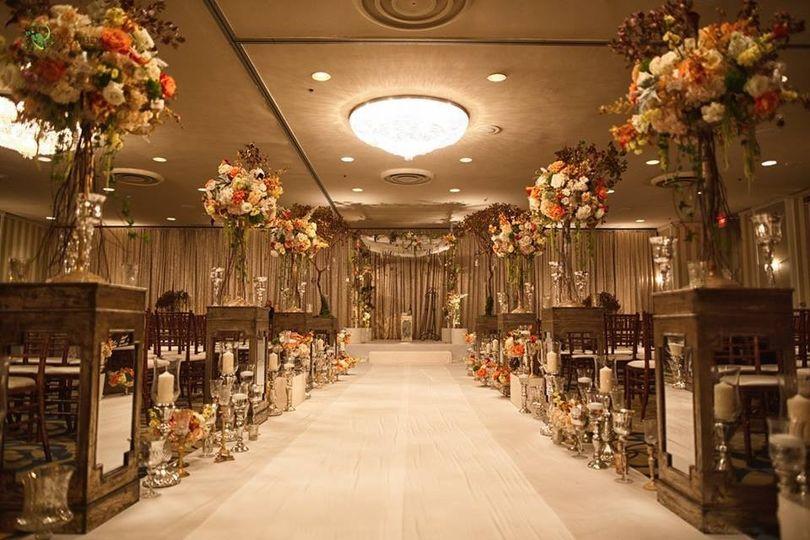 Wedding ceremony setup with flowers