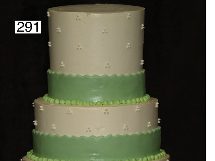 Tmx 1382489281497 291 With Double High Top Layer And Rolled Fondant Ribbon Bryn Mawr wedding cake