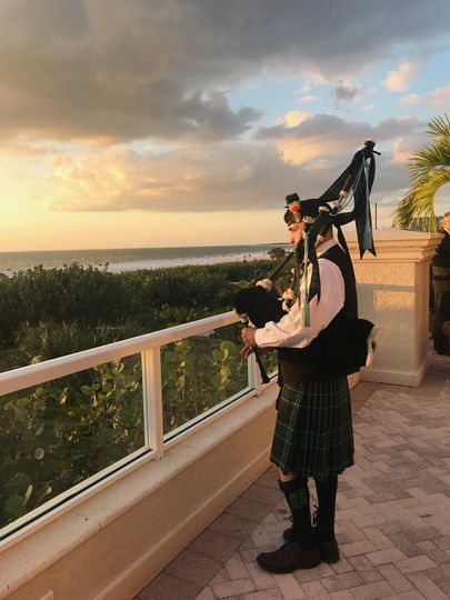 Marco Island, Irish bagpiper, sunset on the beach