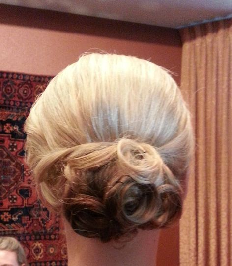 Neat curled updo