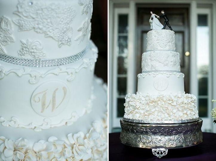 Lace and ruffles wedding cake with a bit of bling