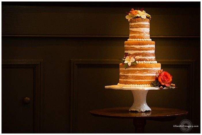 Naked wedding cake with fresh florals