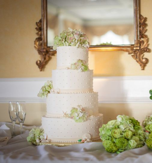 Buttercream wedding cake with swiss dots and fresh florals