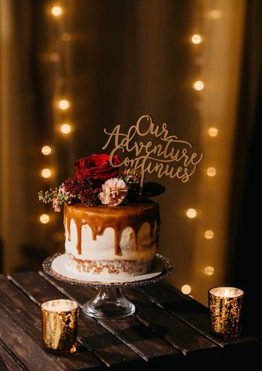 Naked cake with caramel drip
