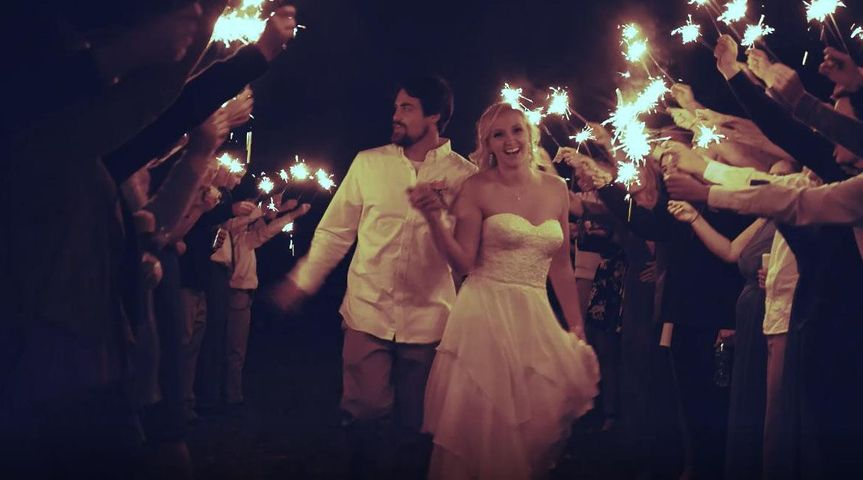 Newlywed couple sparkler exit