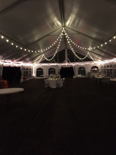 Tent with string lights