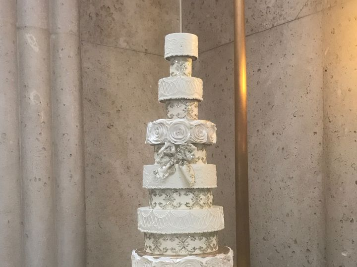 Tmx Gold Ribbon Tower Cake 51 47366 Addison, TX wedding cake