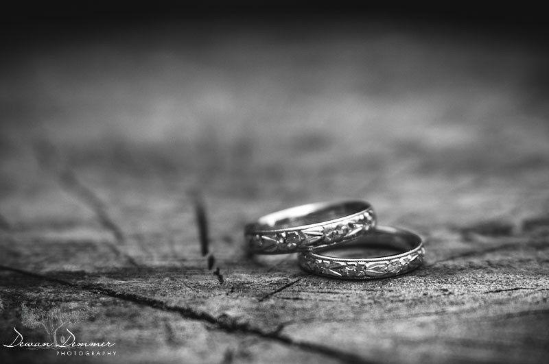 wedding rings landscape bw