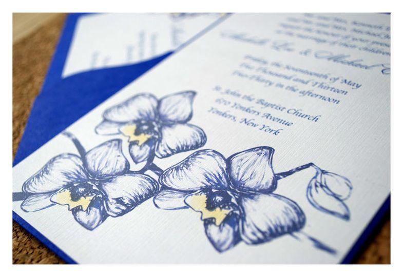 orchid wedding invit