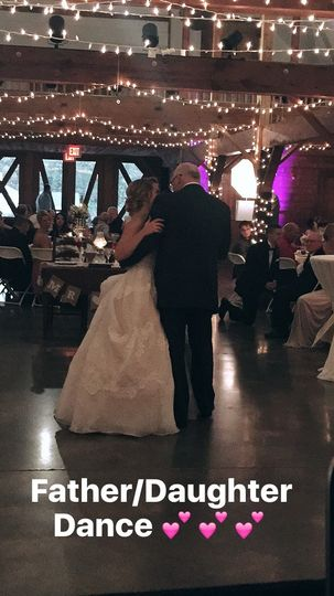 The bride and her father dancing