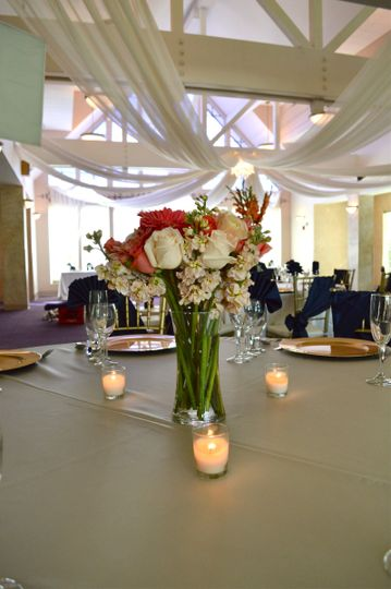 Table setting with candle centerpiece