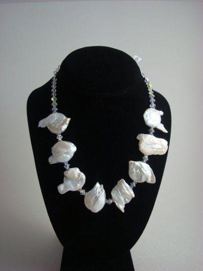 beutiful conin pearls with swarovski crystals