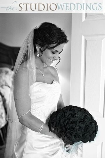 Bridal portrait in black and white
