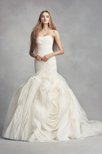White by Vera Wang StyleVW351369Lace sheath gown with plunging illusion V-neckline, spaghetti...