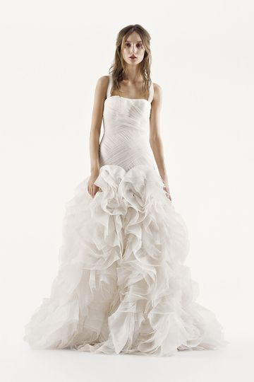 White by Vera Wang Style VW351178 SSTextured organza ball gown with draped bodice, split-front...