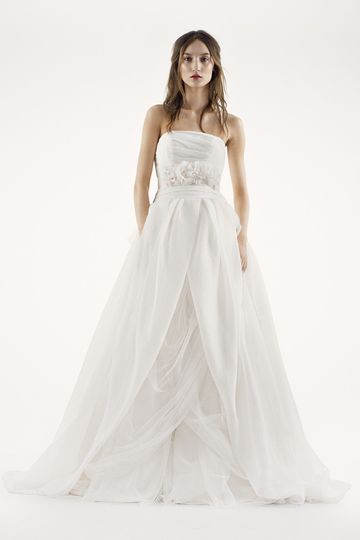 White by Vera Wang Style VW351172Net fit-and-flare gown with halter neckline and draped...