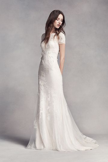White by Vera Wang Style VW351312Lace and tulle sheath gown with illusion neckline, cap...