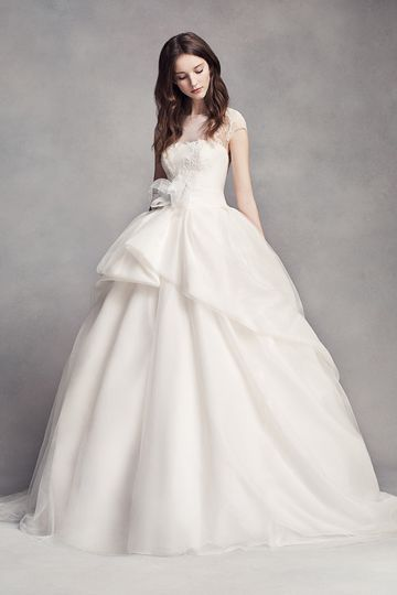 White by Vera Wang Style VW351315Textured organza ball gown with lace appliqués on illusion...