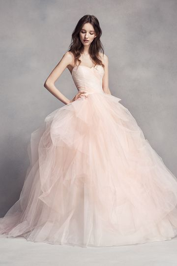 White by Vera Wang Style VW351322Tulle ombré ball gown with sweetheart neckline, draped...