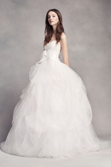 White by Vera Wang Style VW351339Tulle ball gown with sweetheart neckline, draped bodice, and...