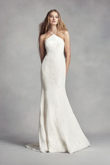 White by Vera Wang Style VW351346Crepe sheath gown with halter neckline, low keyhole back with...