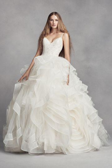 White by Vera Wang Style VW351371 SSOrganza ball gown with V-neckline, spaghetti straps,...