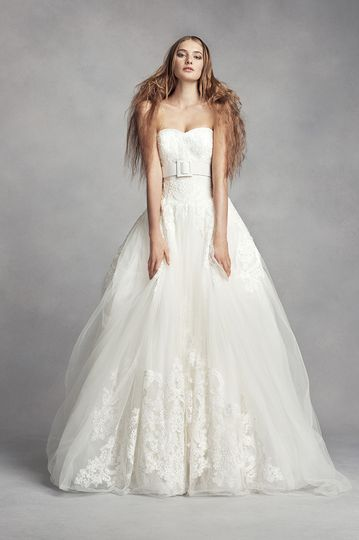 White by Vera Wang Style VW351373 SSTulle ball gown with sweetheart neckline, beaded lace...