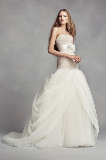 White by Vera Wang Style VW351393Lace trumpet gown withsweetheart neckline, beaded lace...