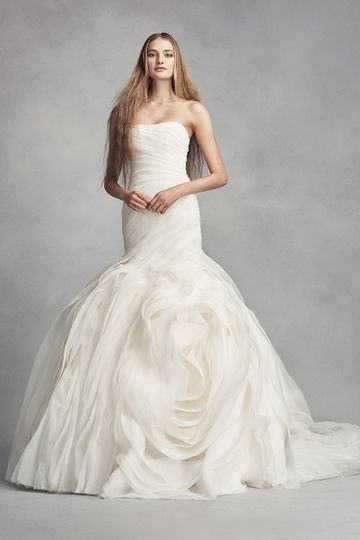White by Vera Wang Style VW351395Organza trumpet gown with draped bodice and dramatic ruffled...